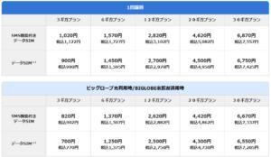 BIGLOBEモバイル:データーSIM料金